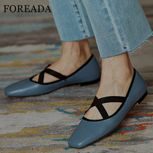 mljuese 2018 women flats brown color cow leather square toe flats spring comfortable oxfords women shoes size 34 43 office shoes FOREADA Natural Genuine Leather Flat Shoes Women Shoes Ballet Flats Dress Square Toe Female Footwear Beige Red Blue Size 34-39