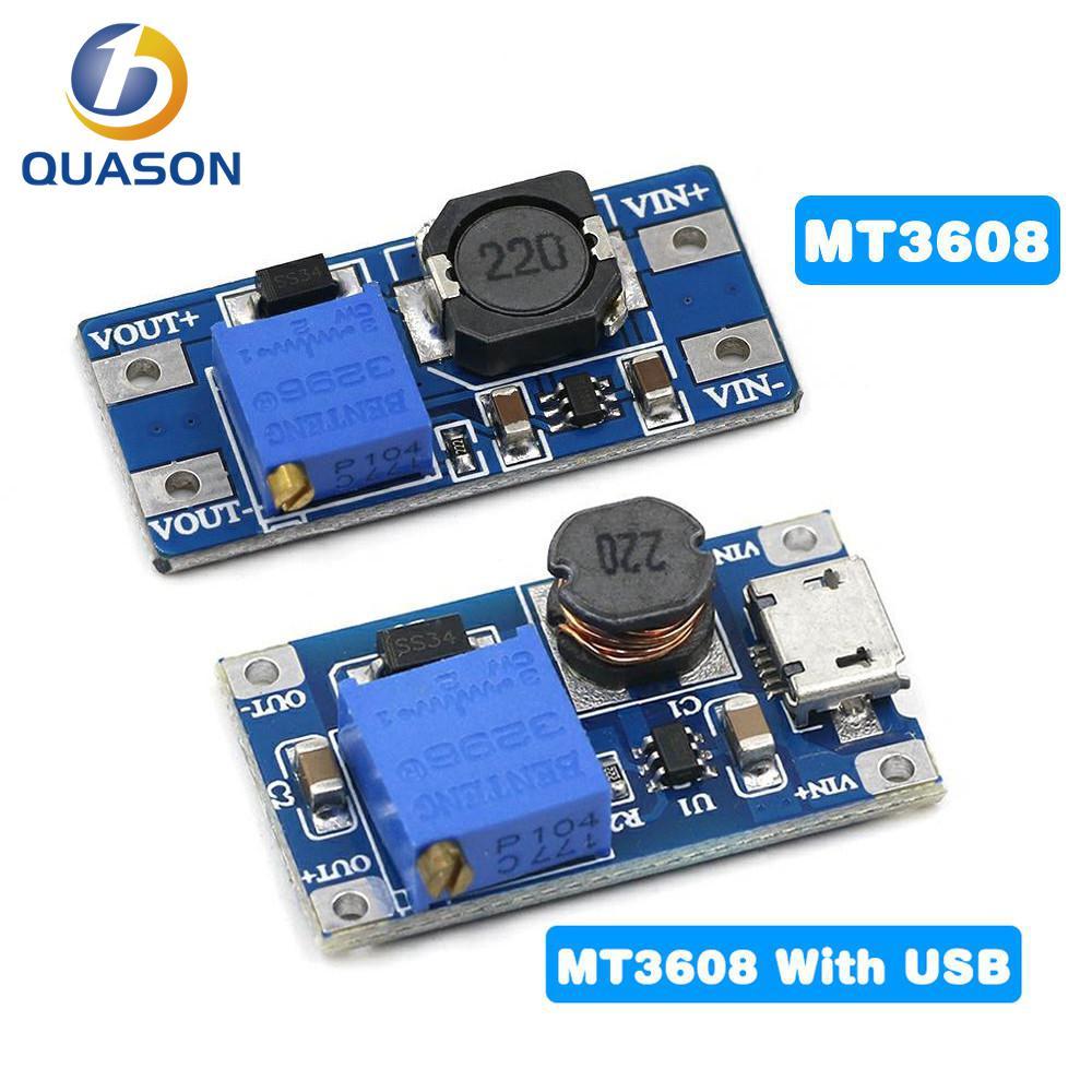 1 шт. MT3608 DC-DC регулируемый Повышающий Модуль 2A повышение пластина Step Up Модуль с MICRO USB 2V-24V 5V 9V 12V 28V