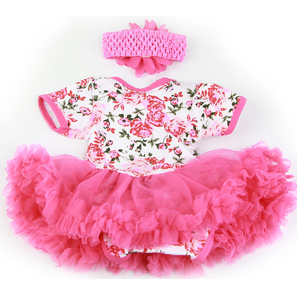 Fashion Baby Doll Accessories Design Suit For 20 -22 Inch Reborn Baby Dolls Rose Pink Dress With Headdress Handmade Doll Clothes