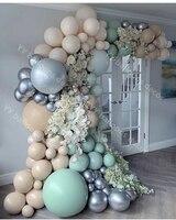 Pastel de doble piel albaricoque género globos de bricolaje Garland 4D plata bebé ducha cumpleaños suministros de fiesta, cumpleaños y boda globo Deco