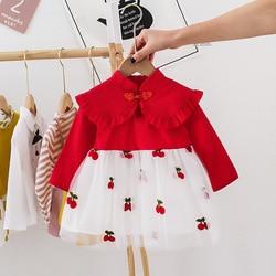 3 6 9 12 meses 1 2 anos de idade verão infantil vestido da criança do bebê vestido de princesa novas crianças bordado cereja malha meninas vestido
