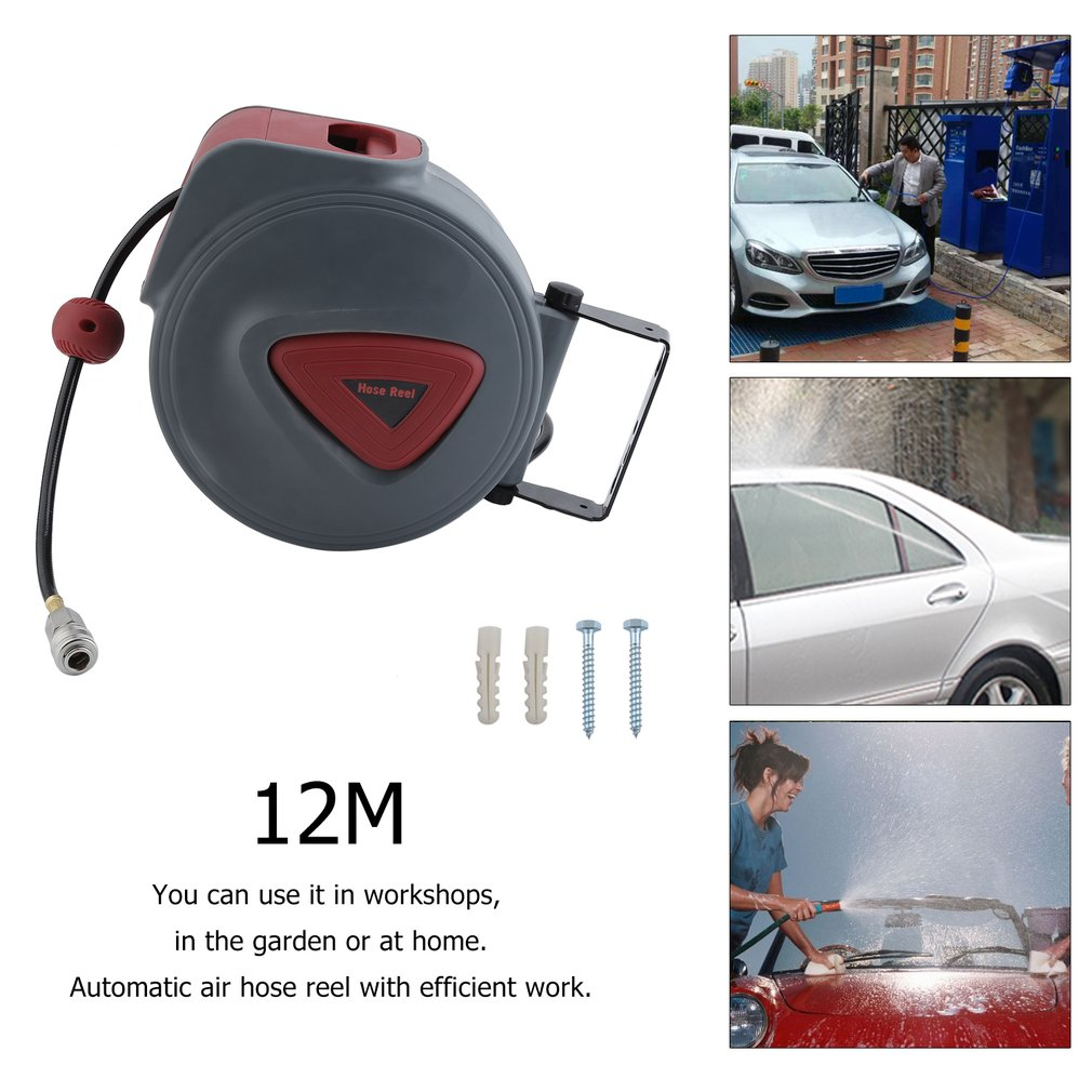 High Quality Efficient Work Compressed Air Hose Reel Automotive Automatic Retractable Reel Air Blower Pneumatic Tools