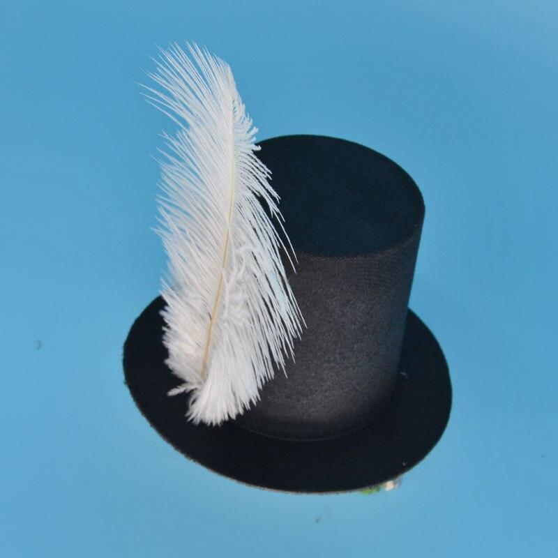 Femmes fille noir Mini haut chapeau pince à cheveux fête de mariage carnaval plume chapeau Base bricolage artisanat cheveux accessoires cadeau d'anniversaire