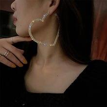 FYUAN moda duży kryształ w kształcie serca Hoop kolczyki dla kobiet Bijoux geometryczne dżetów biżuteria kolczyki w stylu Statement prezenty