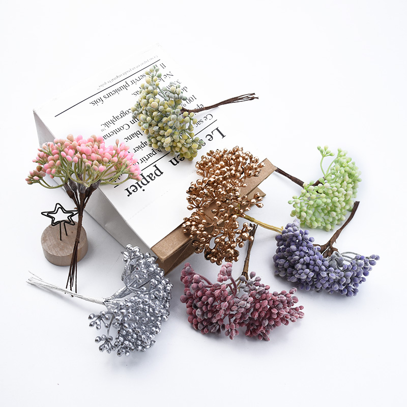 6 Pieces Plastic Stamen Home Decoration Accessories Christmas Decorative Flowers Wreaths Wedding Bridal Accessories Clearance Ornamental Flowerpot Vases For Household Products Diy Gifts Box Artificial Plants Wholesale