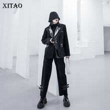 XITAO Spring 2020 New 2 Piece Set Women Retro Corduroy Suit Coat Trend Pu Splice Two Piece Set Streetwear Womens Pants GCC3182(China)
