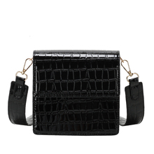 Blackbag Women Vintage Portable Small Square Handbag AndShoulder Crossbody Bags For Woman With Crocodile Pattern Leather