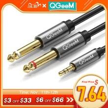 QGEEM Cable de Audio adaptador Jack 3,5mm a 6,35mm * 2 para mezclador amplificador altavoz chapado en oro 6,5mm 3,5 Jack Splitter Cable de Audio