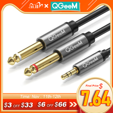 QGEEM Jack 3.5mm to 6.35mm*2 Adapter Audio Cable for Mixer Amplifier Speaker Gold Plated 6.5mm 3.5 Jack  Splitter Audio Cable
