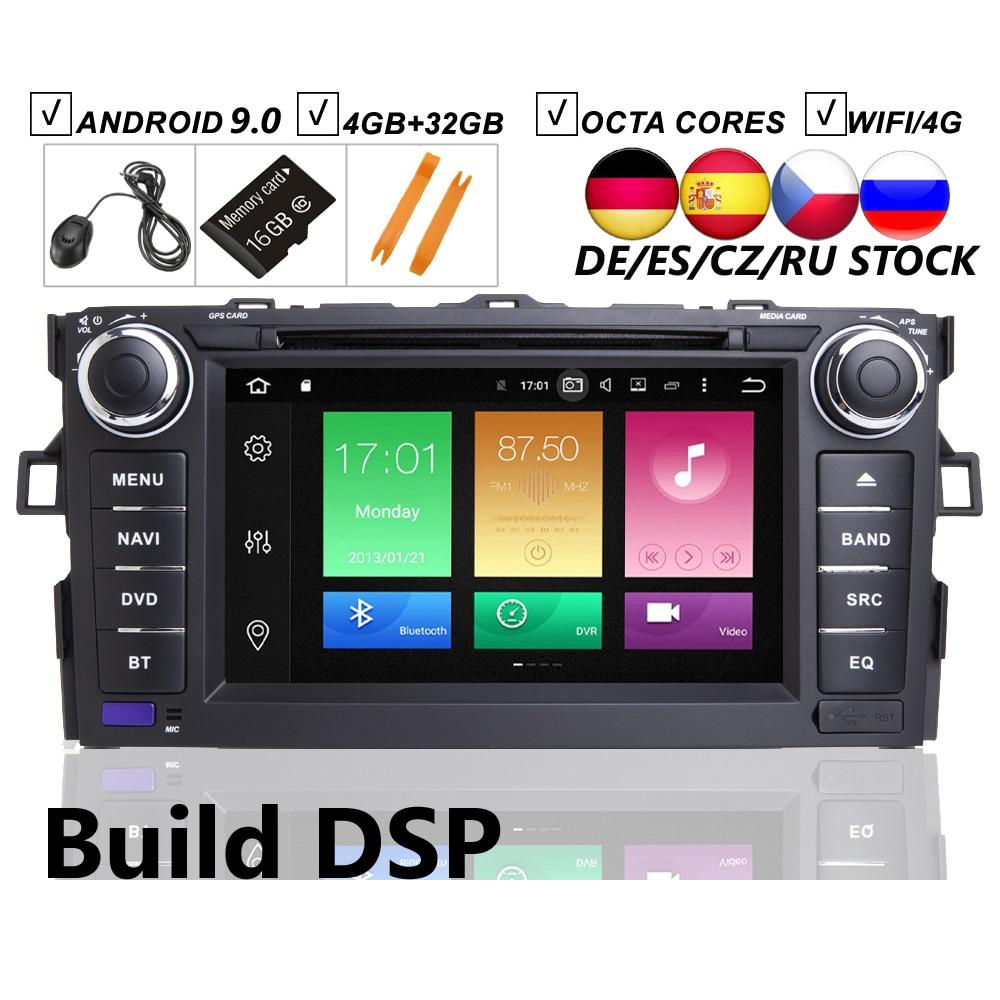 7 IPS voiture Android 9.0 lecteur DVD GPS pour Toyota AURIS 2006 2007 2008 2009 2010 2011 Navigation de véhicule Raido BT Wifi/4G carte DSP