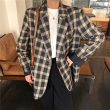 Chic Single breasted plaid blazer Female long sleeve office ladies blazer 2019 Autumn jacket women outerwear coats blazer mujer цена 2017
