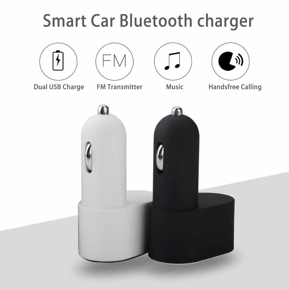 Cargador de coche inteligente multifuncional, reproductor de música MP3 con doble USB compatible con radio FM adaptador de llamadas manos libres