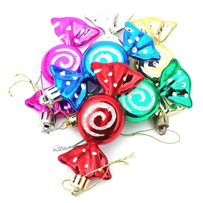6pcs/Box Christmas Tree Candy Hanging Ornaments DIY Party Xmas Decoration Colorful Christmas Tree Decorations