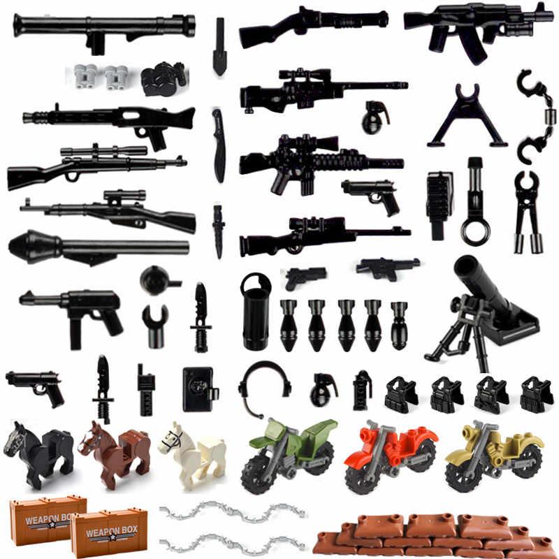 Bloques de construcción con armas militares Swat, paquete de armas de policía, soldado, Escudo de caballo, serie WW2, accesorios del ejército, juguetes de ladrillo