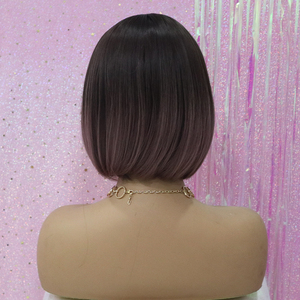 Image 3 - ALAN EATON Heat Resistant Synthetic Short Bobo Hair Wigs for Women Ombre Dark Brown Purple Wigs Perucas Cosplay Wigs with Bangs