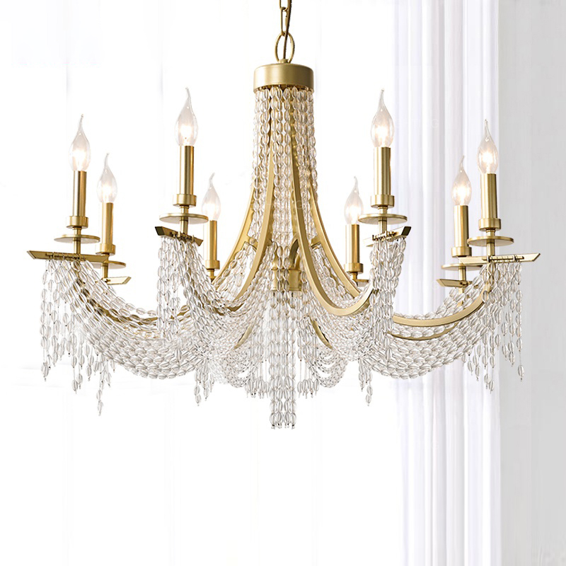 Luxury Crystal Pendant Light Gold Hanging Lighting In Bedroom Foyer Living Room Hotel Villa French Country Kitchen Pendant Lamp