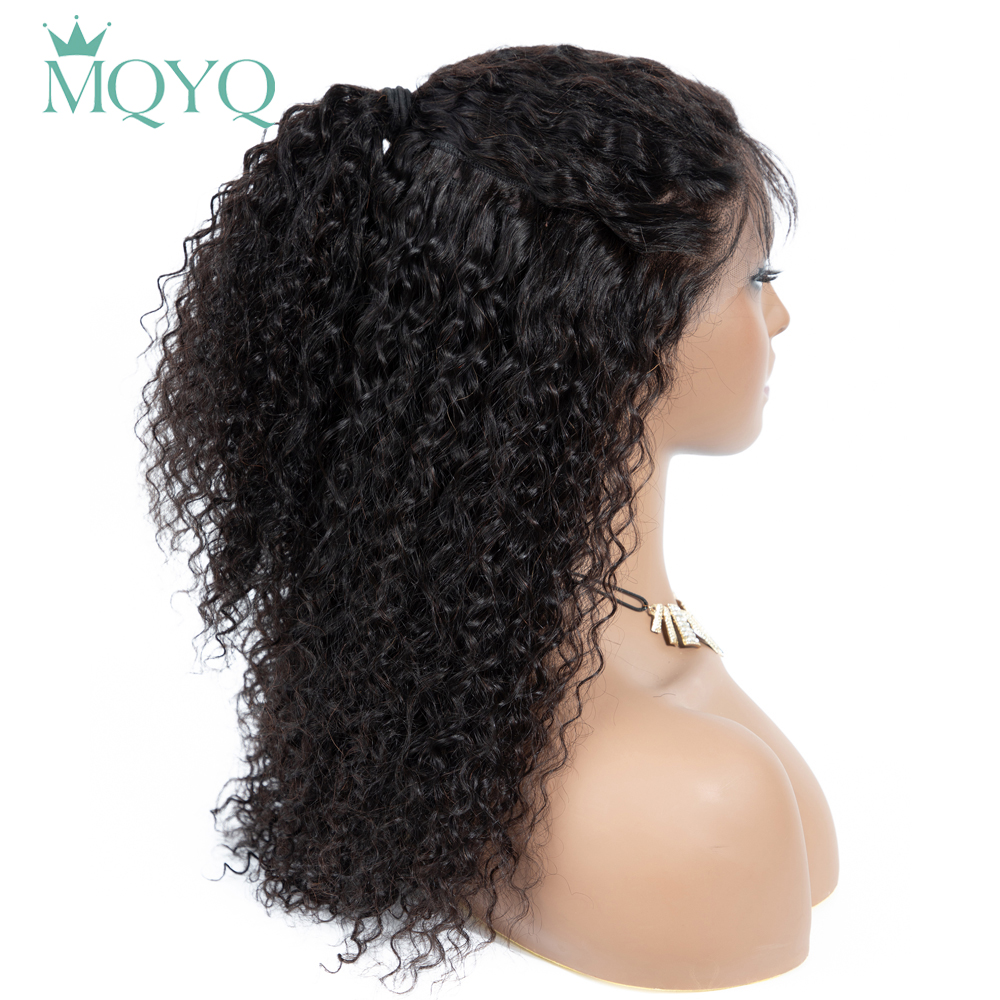MQYQ Hair 13*4 Lace Frontal Human Hair Wigs Brazilian Kinky Curly Non-Remy Hair With Baby Hair Lace Frontal Human Hair Wig