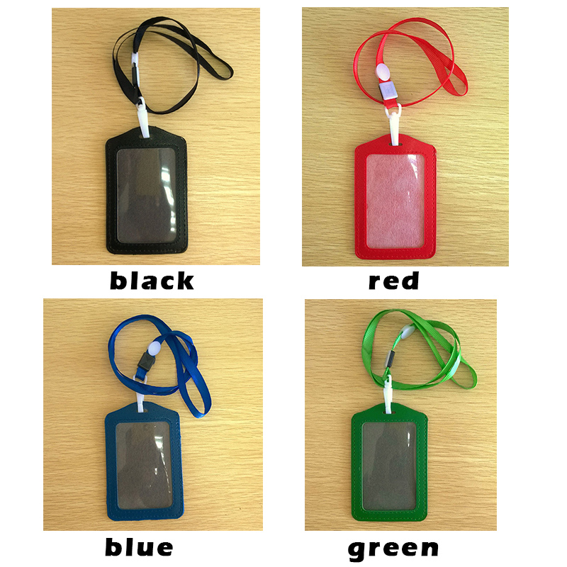 Women Men PU Leather Neck Strap Card Bus ID Holders Candy Colors Identity Badge With Lanyard Bank Credit Card Holders