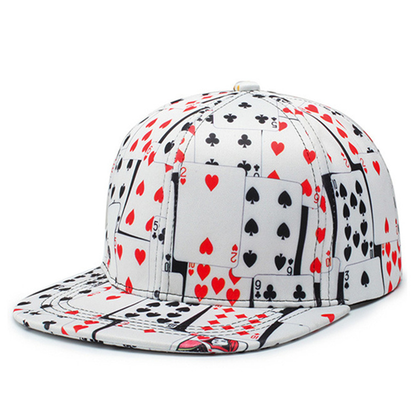 2019 New Hip Hop Cotton Poker Print Cappellino Baseball Cap For Women Men Outdoor Fashion Casquette Homme Bone Snapback Hat