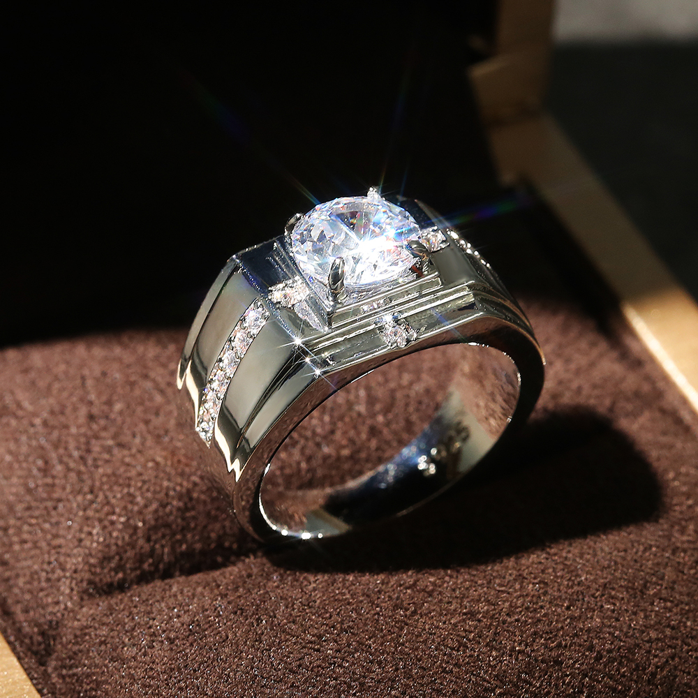 Huitan Luxury Silver Color Round Cubic Zircon Rings for Men Classic Wedding Ceremony Ring Dazzling Male Accessories Jewelry Hot