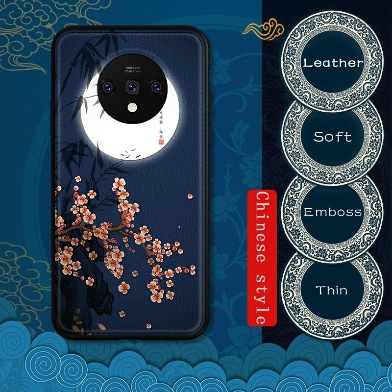 <font><b>3D</b></font> Emboss Leather <font><b>Case</b></font> For <font><b>Oneplus</b></font> 7 Pro <font><b>6</b></font> Chinese Style Luxury Soft <font><b>Case</b></font> image