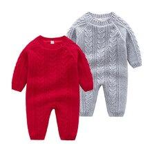 Детский трикотажный комбинезон, зимний теплый комбинезон с длинным рукавом для новорожденных, однотонный комбинезон для младенцев и девочек, Детский костюм для мальчиков