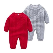 Bebek tulum örme kış sıcak yenidoğan Bebes uzun kollu tulumlar kıyafetler düz renk bebek kız tulum çocuklar erkek kostüm