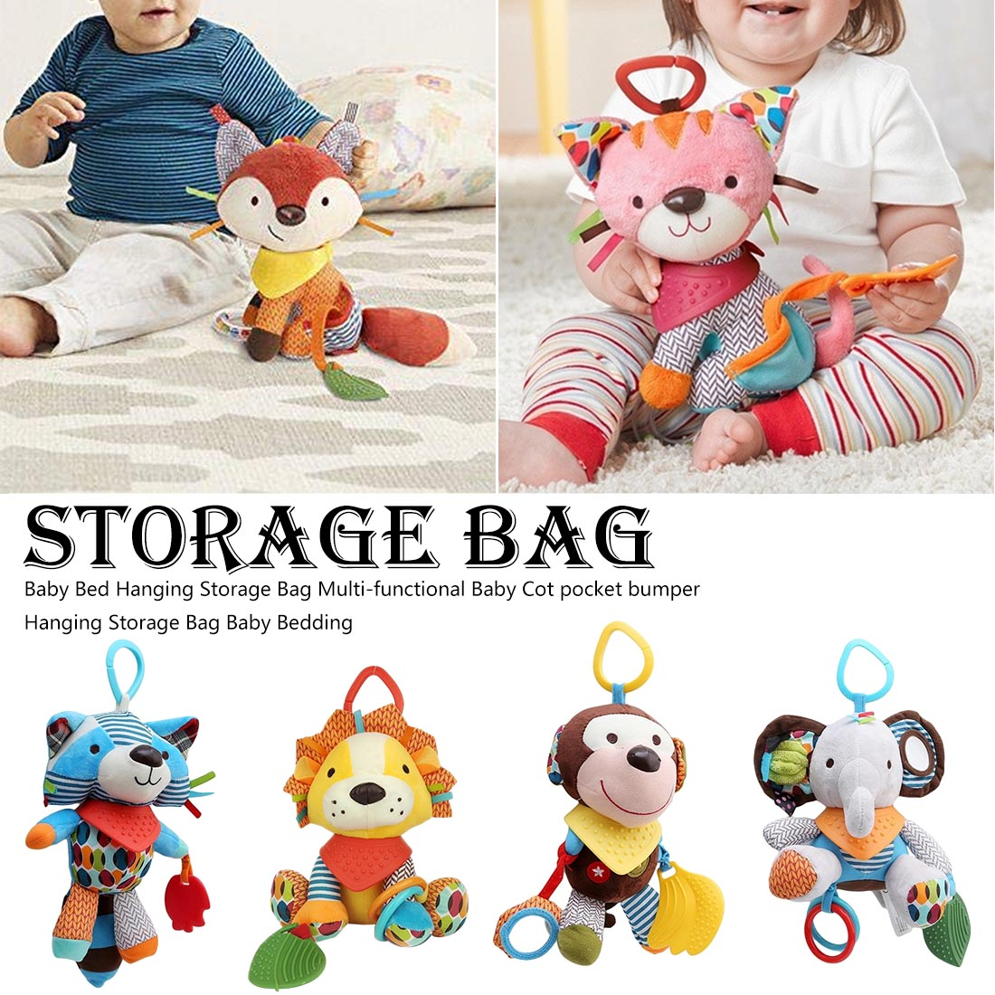 1PC Fox Rattles Baby Cute Infants Animal Stroller Car Toys Clip Lathe Hanging Seat & Stroller Toys Mobile Music Educational Toys