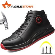 أحذية عمل مع اصبع القدم الصلب سلامة مارتن الأحذية الصناعية الرجال مكتب الأحذية غير قابل للتدمير مكافحة تحطيم ثقب واقية