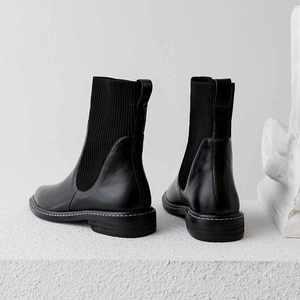 Image 2 - كرازينغ وعاء جديد جلد البقر الحياكة الجوارب الأحذية جولة تو ميد الكعوب الشتاء الأساسية اليومية ارتداء النساء الدافئة تشيلسي حذاء من الجلد L9f4