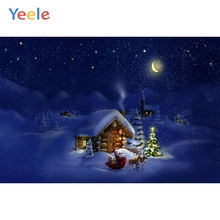 Yeele Christmas Carnival Photocall Starry Chalet Sled Photography Backdrop Personalized Photographic Background For Photo Studio starry night christmas sled patterned wall stickers