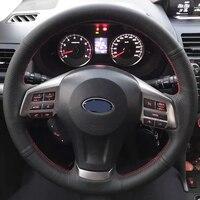 Yüksek kaliteli inek derisi üst katman deri el yapımı dikiş direksiyon kapakları korur Subaru Forester/Legacy/Outback/XV