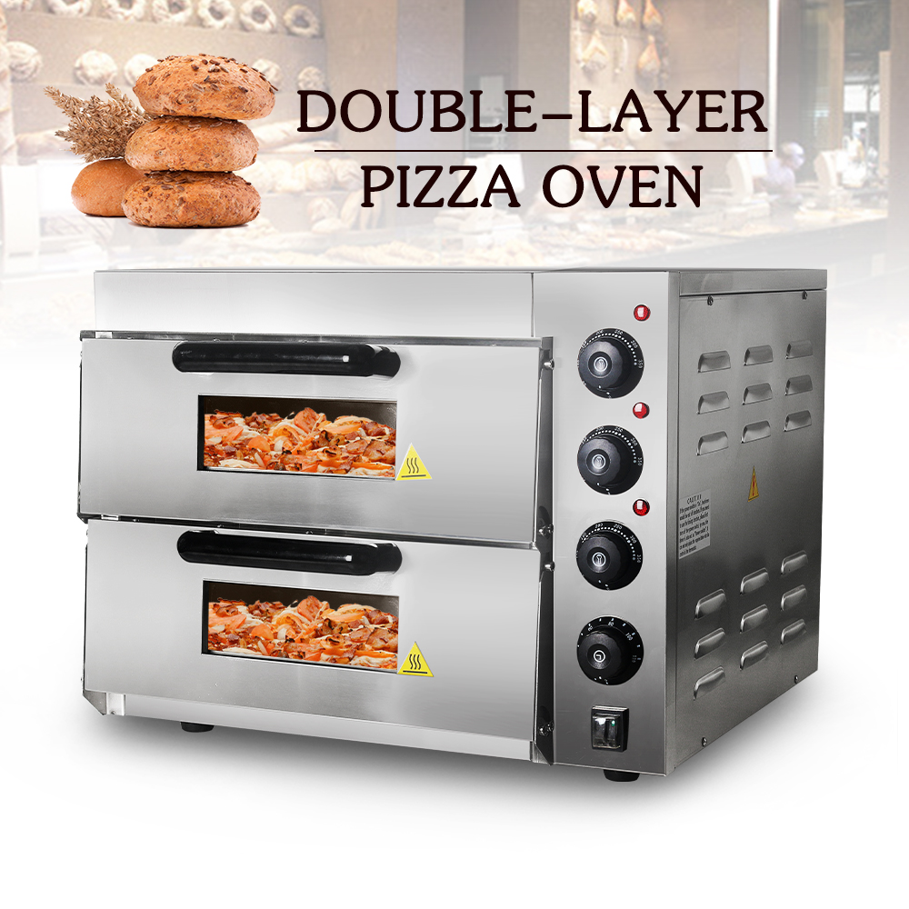 20L Commercial Double Layer Pizza Oven 3000W Electric Convection Oven Roast Chicken Duck Cake Bread Baking Oven Stainless Steel