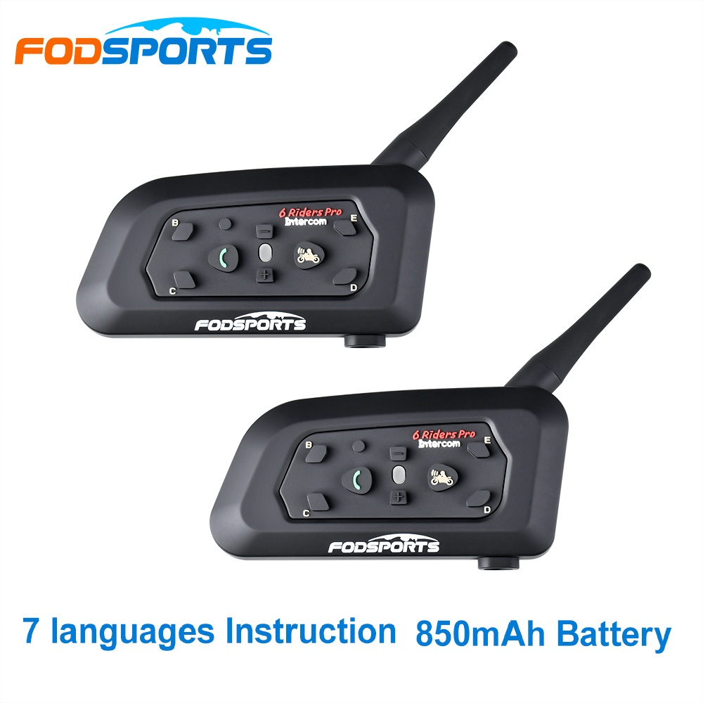 Fodsports 2 pçs v6 pro capacete da motocicleta fone de ouvido bluetooth interfone 6 pilotos 1200 m intercomunicador sem fio bt interfone