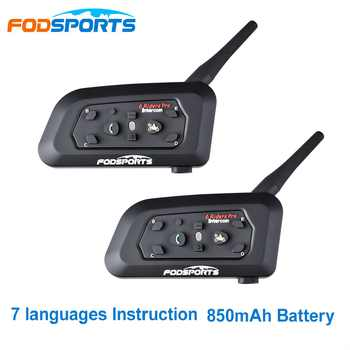 Fodsports 2 pcs V6 Pro Motorcycle Helmet Bluetooth Headset Intercom 6 Riders 1200M Wireless Intercomunicador BT Interphone - DISCOUNT ITEM  41% OFF All Category