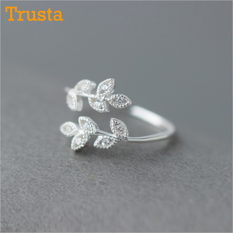 Trustdavis Luxury Women Leaf CZ Opening Ring Fashion Pure 925 Sterling Silver Finger Rings For Trend Women Wedding Jewelry DS483