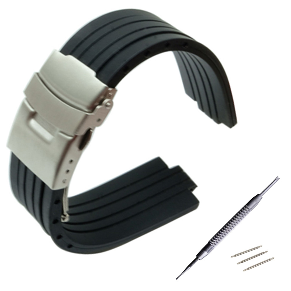 22mm X 12mm Convex Mouth Watchband Silicone Rubber Watch Band Stainless Steel Safety Buckle Strap Wrist Bracelet + Tool
