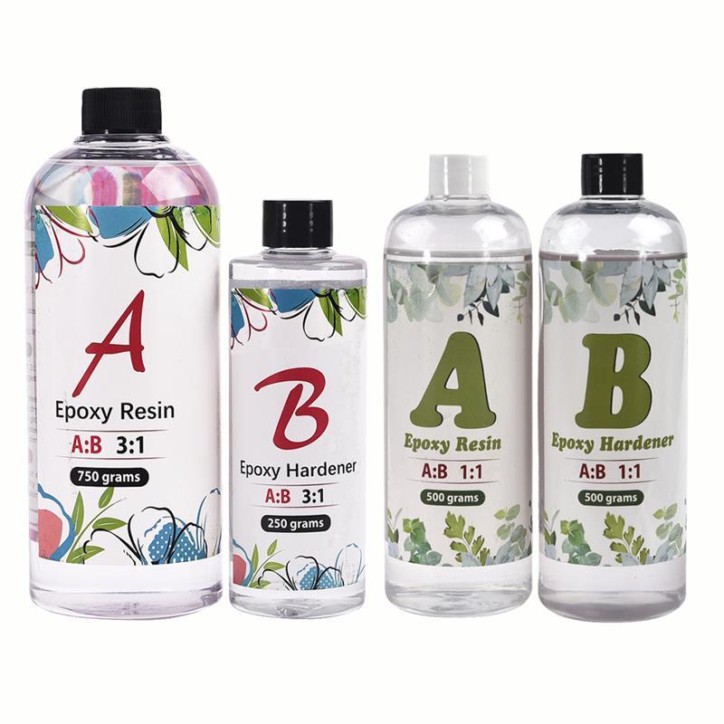 Прозрачный кристаллический клей AB, эпоксидная смола, высокая клейкость 3:1 1:1 AB, УФ эпоксидный клей для самодельных ювелирных изделий из смол...
