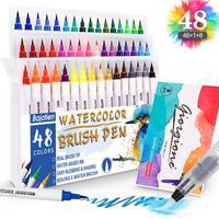 수채화 물감 브러시 펜 실제 브러시 팁 물 색칠 달필 그리기 및 쓰기 기반