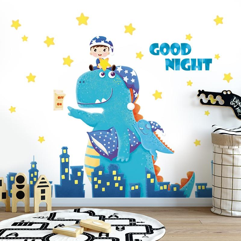 Dibujos Animados buenas noches dinosaurio pared pegatinas para habitaciones de niños bebé hogar Decoración animales divertidos calcomanías Diy habitación de niño Mural arte