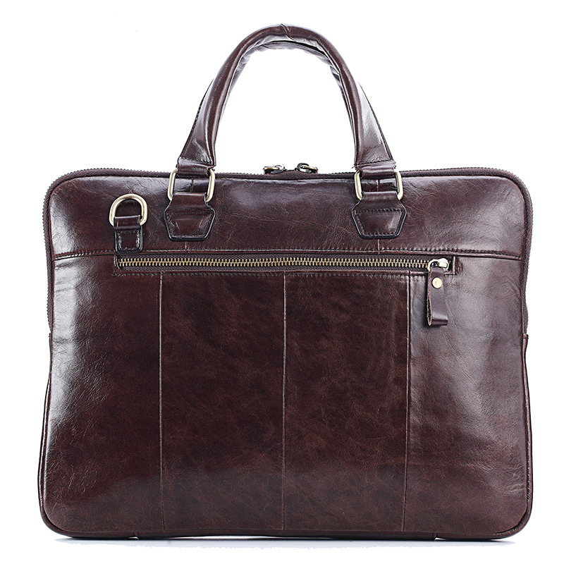 Men's Cowhide Leather Briefcase Mens Genuine Leather Handbags Crossbody Bags High Quality Luxury Business Laptop Bag