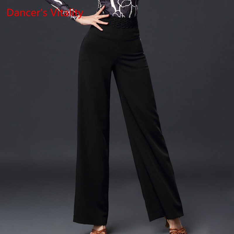 Latin Dance Female Adult High Waist Wide Leg Trousers New National Standard Ballroom Dance Profession Practice Pants