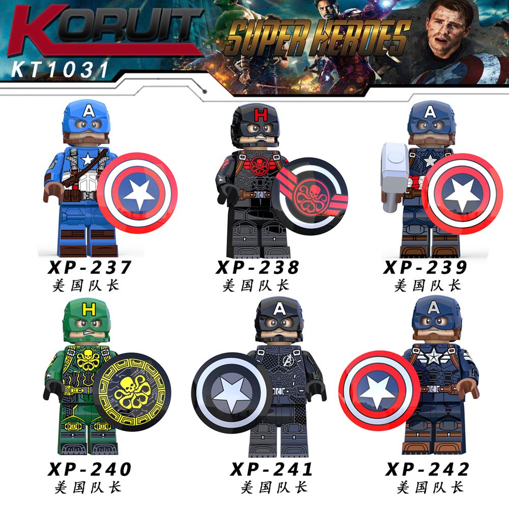 Single Sale Captain America KT1031 Figure Marvel Super Heroes Hydra Agent Avengers Building Blocks Sets Bricks Toys Legoing