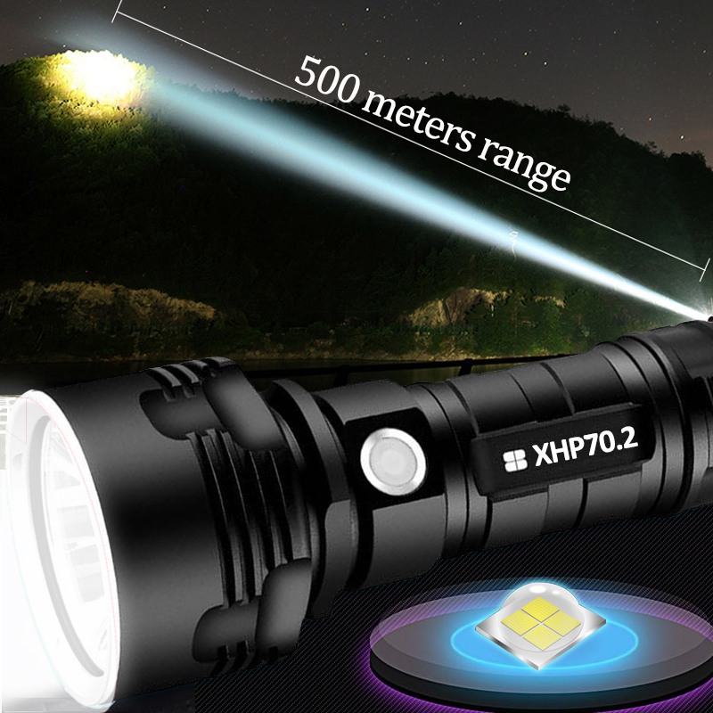 Super Powerful LED Flashlight XHP70.2 Tactical USB Torch Xhp50 Lamp Rechargeable 18650 26650 Battery Lantern For Camping Fishing