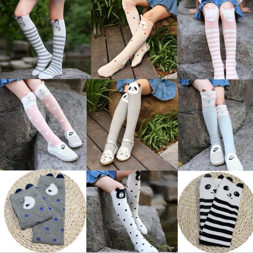 3 To 12 Year Girl Knee-high Socks Cartoon Owl Dog Print Children Heaps Socks Half Cylinder Boy Socks Kids Knee Above Cotton Sock