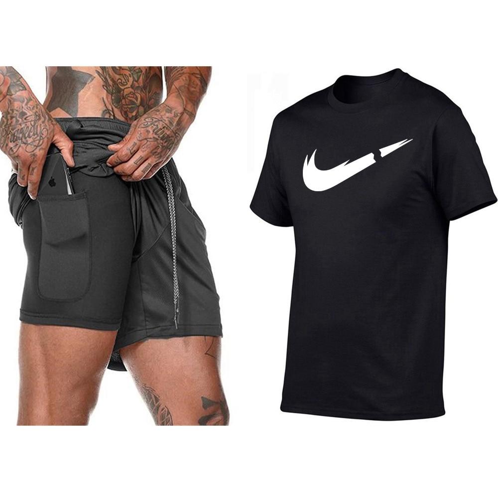 Summer Men Shorts Hidden Mobile Phone inside Pockets Sports Pants Training Gym