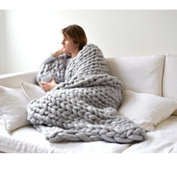 Thicken Knitting Blanket Hand Weaving Throw Sofa Bed Blankets Chunky Winter Fleece Knitted Tapestry Giant Soft Plaid