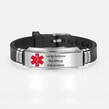 Id-Bracelets Custom-Engraving Medical-Alert Personalized Bangles Adjustable Silicone