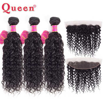 Queen Hair Water Wave 3 Bundles With Frontal Closure Brazilian Remy Human Hair Weave 13x 4 Lace Frontal With Bundles Extensions - DISCOUNT ITEM  53% OFF All Category