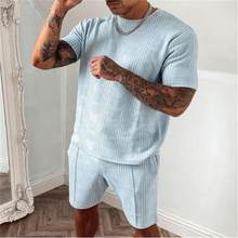 Summer Solid Short Sleeve Casual Sport Suit 2021 New Fashion Two Piece T-shirt Shorts Tracksuit Men Set Fitness Bodybuilding